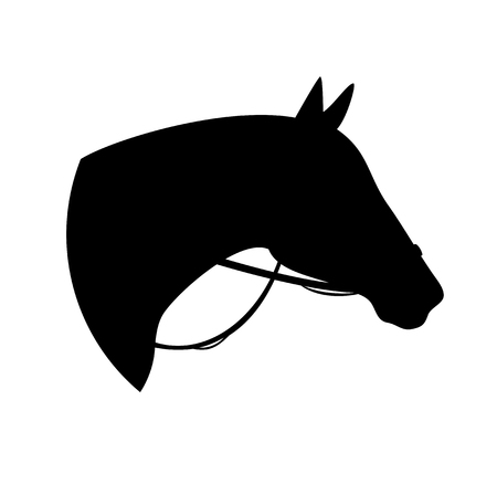 horse with bridle - black vector silhouette of animal head