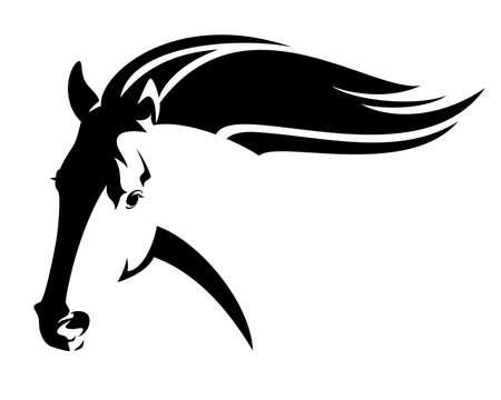 in esecuzione cavallo selvaggio con la criniera volante - disegno vettoriale in bianco e nero testa mustang