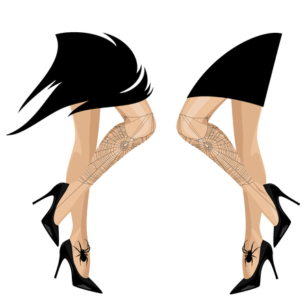 beautiful witch legs with spider web - halloween costume vector design set