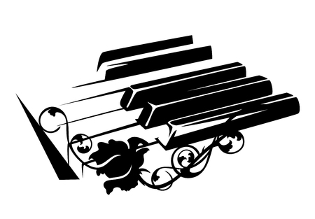 piano keyboard and rose flower - classical music concept black and white vector design