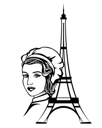 french female chef portrait - beautiful woman baker and eiffel tower outline black and white vector design