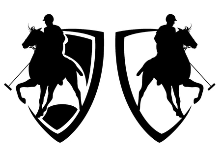 polo player riding a horse - heraldic shield and horseman black and white vector design Illustration