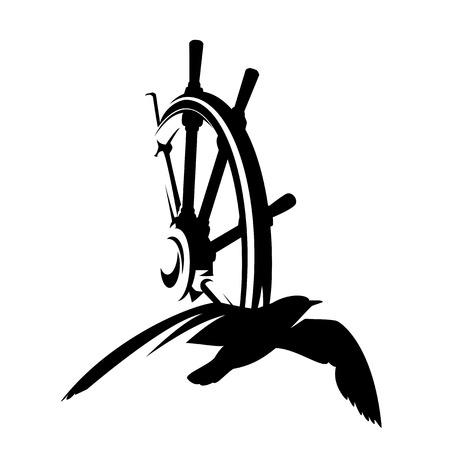 zeemeeuwvogel en schipstuurwiel - nautisch thema zwart vectorontwerp