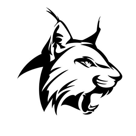 wild roaring lynx head - black and white vector design Illustration