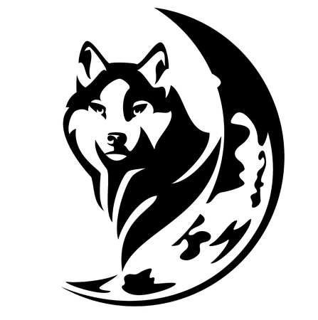 wild wolf head and crescent moon black and white vector design