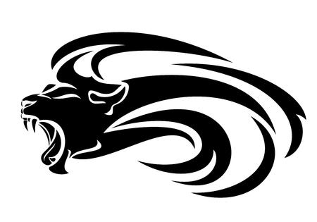 Roaring lion head with long mane profile Vektorové ilustrace