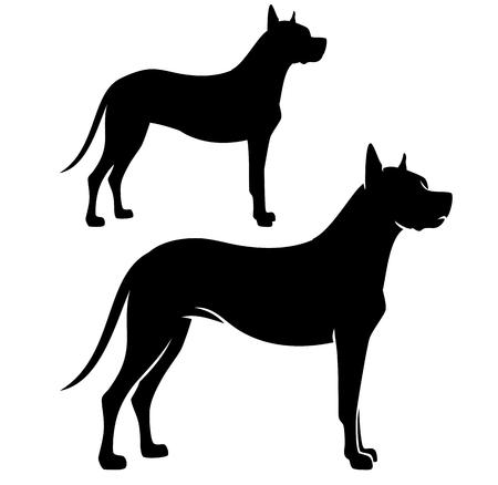 Standing great dane dog side view black vector silhouette Illustration