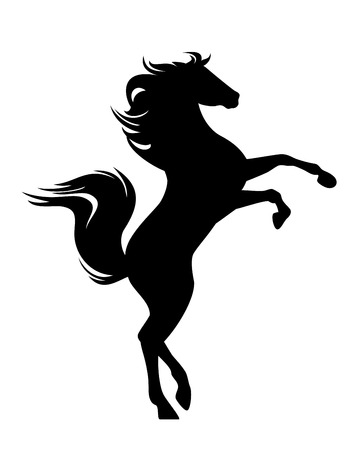 Standing  horse black vector design - side view prancing stallion silhouette