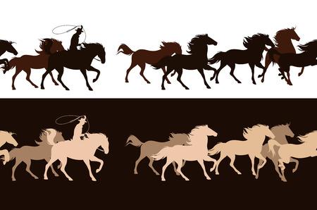 Vaquero persiguiendo una manada de caballos mustang salvajes - diseño de borde de vector horizontalmente transparente