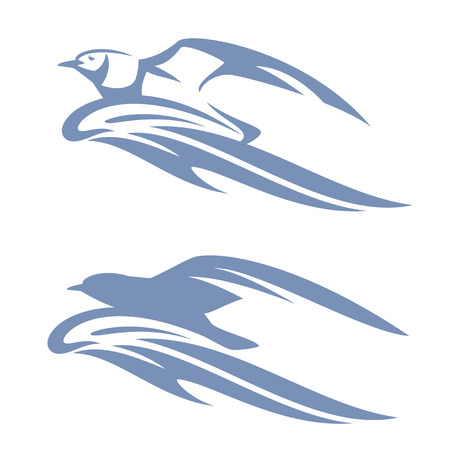 Sea gull bird and ocean wave monochrome outline design