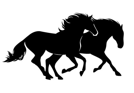 pair of wild mustang horses running free - black vector silhouette design