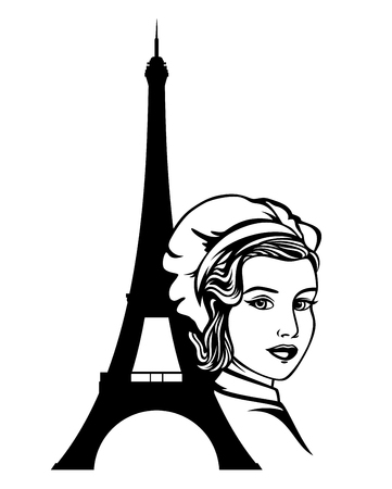 Beautiful female cook and Eiffel tower silhouette black and white vector design