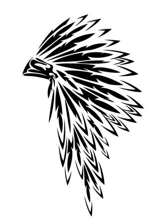 Coiffe à plumes traditionnelle de chef de tribu amérindien noir et blanc