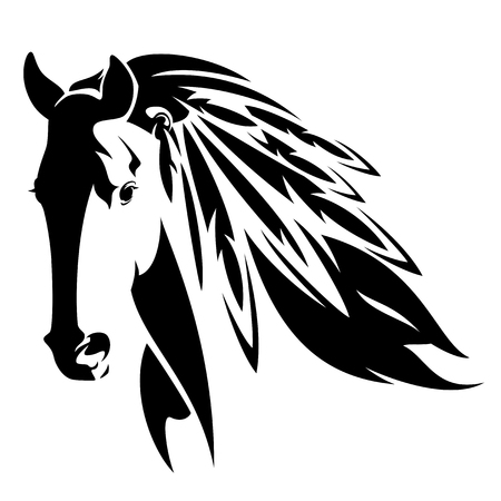 Cheval sauvage avec des plumes dans la crinière - animal esprit amérindien noir et blanc