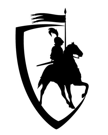 Medieval knight riding horse with banner spear - black and white heraldic shield