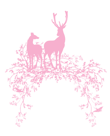 pair of wild deer standing among blooming cherry tree branches - spring season nature silhouette vector design