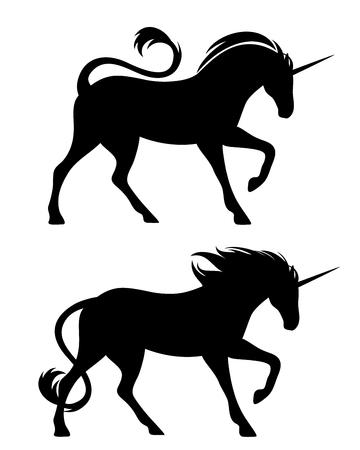 Running unicorn horses black silhouette set on white