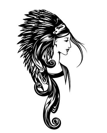 femme amérindienne portant une coiffe à plumes en chef - portrait vectoriel noir et blanc