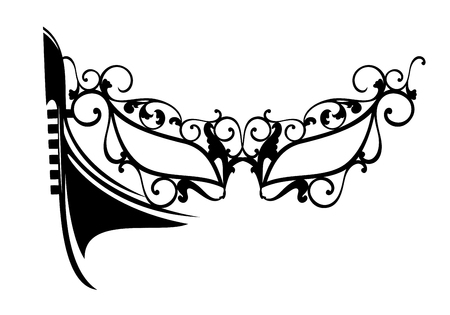 Traditional carnival mask and Venetian gondola boat black and white