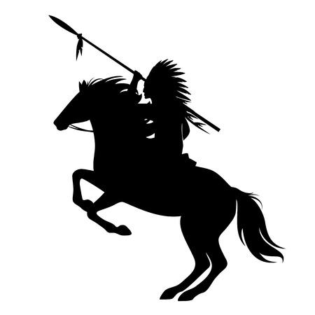 Indianerhäuptling mit Speer und gefiedertem Kopfschmuck, der auf einem Pferd reitet