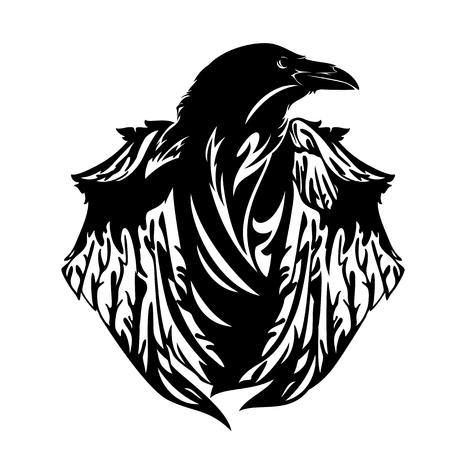 Oiseau corbeau mystérieux aux ailes fermées