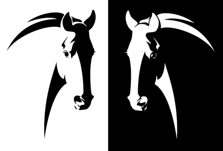 Horse head black and white simple vector outline Banque d'images - 116465040