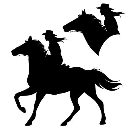 Vaquera, equitación, caballo corriente Ilustración de vector