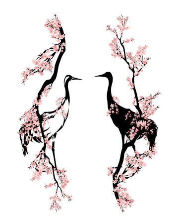 japanese crane bird walking among blooming sakura branches - asian style spring season vector design Çizim