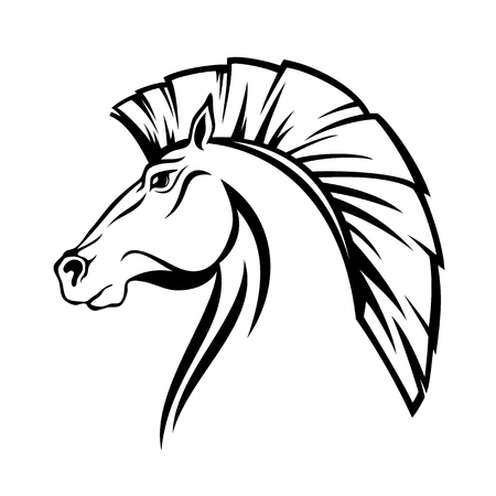 Horse profile head with cut mane