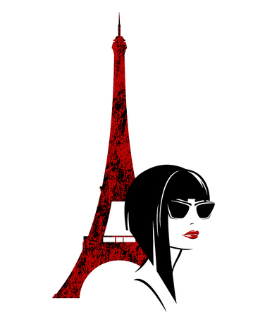 Stylish brunette woman with asymmetric blunt bob haircut and sunglasses with eiffel tower Ilustrace