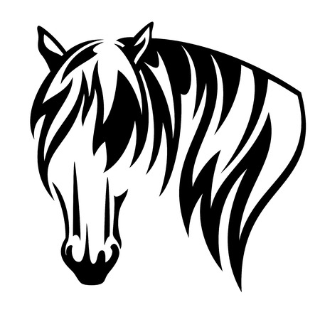Horse with long mane black and white vector head
