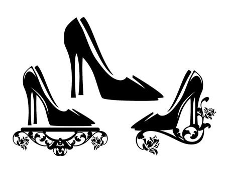 elegant high heeled shoes with rose flowers floral decor - black and white vector footwear design Ilustração