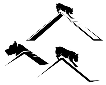 Pet dog running the agility sport obstacle - black and white vector design set Vectores