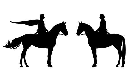 Horseback king wearing crown and armed with sword - black vector silhouette of royal prince riding a horse Standard-Bild - 118427821