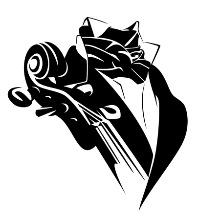 Cello player wearing classical costume - professional string instrument musician black and white vector emblem
