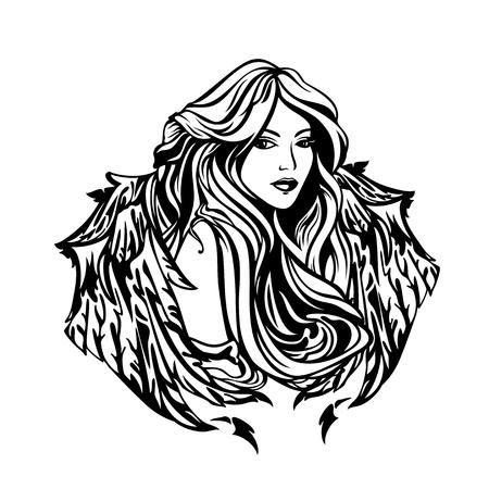 Belle femme d'ange avec de longs cheveux et des ailes magnifiques - portrait de vecteur noir et blanc de fille céleste de style art nouveau Vecteurs