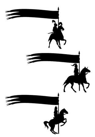 Medieval knights riding horses and holding long banners with copy space Illustration