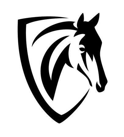 Horse head and heraldic shield black and white minimalist vector design