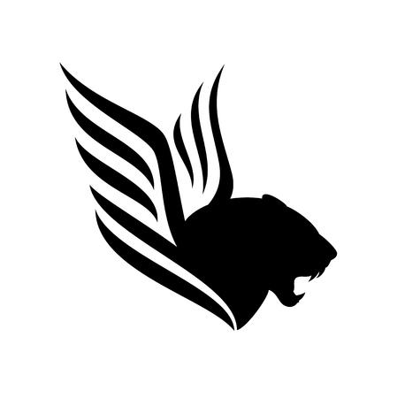 Roaring panther profile head - furious big cat with wings black and white vector design