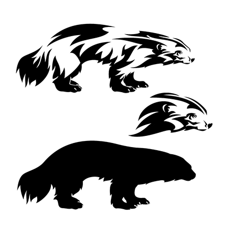 Standing wolverine outline and silhouette and profile head black and white