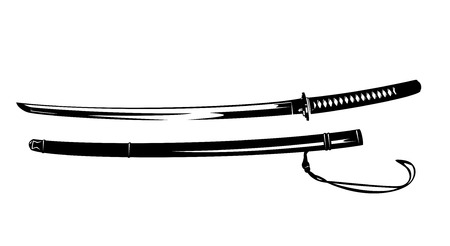 samurai katana blade and scabbard - traditional japanese sword black and white vector design