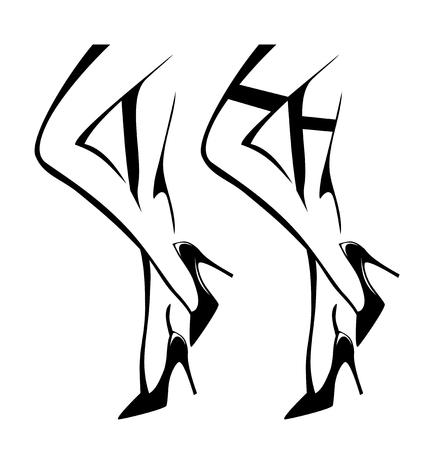 Jambes de femme sexy portant des chaussures à talons aiguilles et des bas