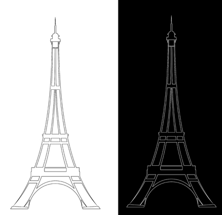 Eiffel tower elegant contour drawing outline - black and white landmark design set