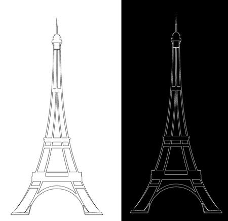 Elegante Konturzeichnung des Eiffelturms - schwarz-weißes Wahrzeichen-Design-Set