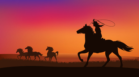 Beautiful cowgirl chasing a herd of wild mustang horses at sunset
