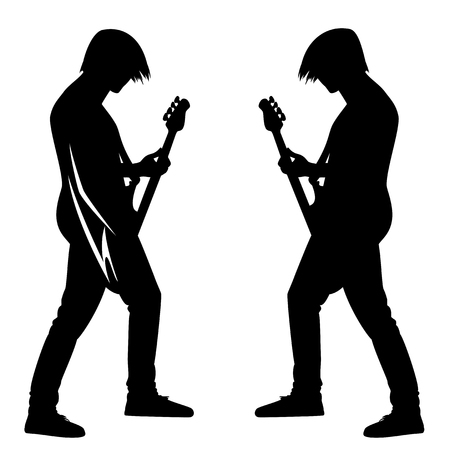 Bass guitar player performing - rock musician playing the instrument black and white vector silhouette design