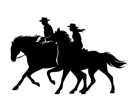 Horseback cowboy and cowgirl - man and woman riding horses wild west theme black and white vector silhouette design Ilustração
