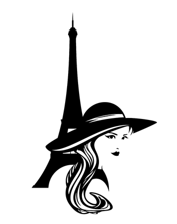 Elegant woman wearing wide brimmed hat with eiffel tower silhouette