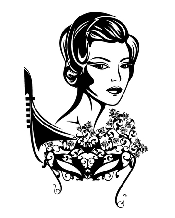 elegant woman with mask among rose flowers and gondola boat - venetian carnival lady black and white vector portrait