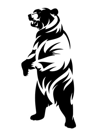 Rearing up brown bear (ursus arctos) - black and white vector outline of standing animal